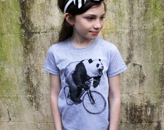 Panda on a Bicycle - Kids T Shirt, Children Tee, Tri Blend Tee, Handmade graphic tee, sizes 2-12