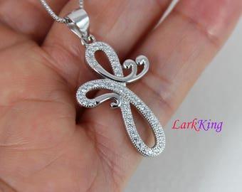 Sterling silver cross necklace, infinity necklace, Cross infinity necklace, unique cross pendant, Baptism cross, christian cross, NE8320