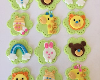 Baby Safari Fondant Cupcake Topper Set of 12