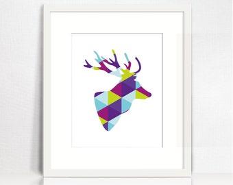 Deer antler decor. Geometric animal poster. Deer headsilhouette wall decor. Deer artwork. Colorful wall art. Triangle geometric animal art