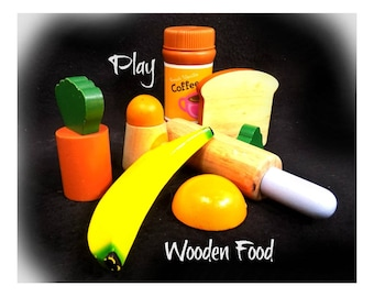 wooden play food , wooden play fruit - child's play food,   gift for girls, farmhouse chic  - children's toy  - 7 pieces  # 12