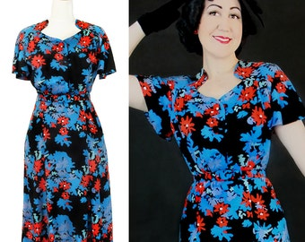 Vintage 1930's 1940's Rayon dress / Darla / Authentic vintage reproduction / floral 30s 40s dress / XS S M L Xl / Made to order