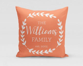 Personalized Family Pillow Cover - You Choose Colors - Customized with Name and Established Year - Twill Pillowcase - COVER only