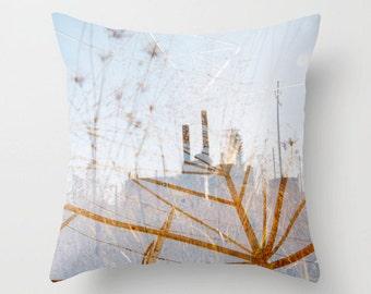 throw pillow pale blue accent pillow cover photo pillow cover sky blue decorative pillow surreal photography dreamy industrial decor