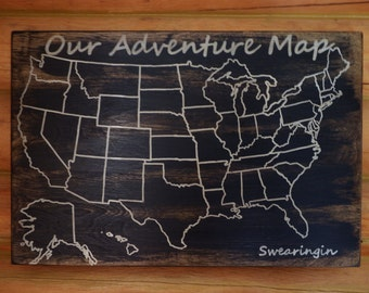 Travel Map | Adventure Map | US Wood Map | USA Travel Map | Personalized | US Map with pins | United States Map | Customized | Rustic