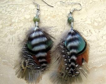 Short Feather Earrings - Beaded Feather Earrings, Feather Jewelry - Dew Drops