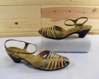 Naturalizer Vintage 70s Beige/Rainbow Leather Ankle Strap Sandals/Heels Size 7M