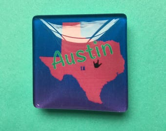 """Austin, TX with I Love You in American sign language 1.5"""" magnet, I love Austin, TX, perfect gift for Austin lovers, fridge magnet"""