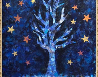 Blue Tree with Stars
