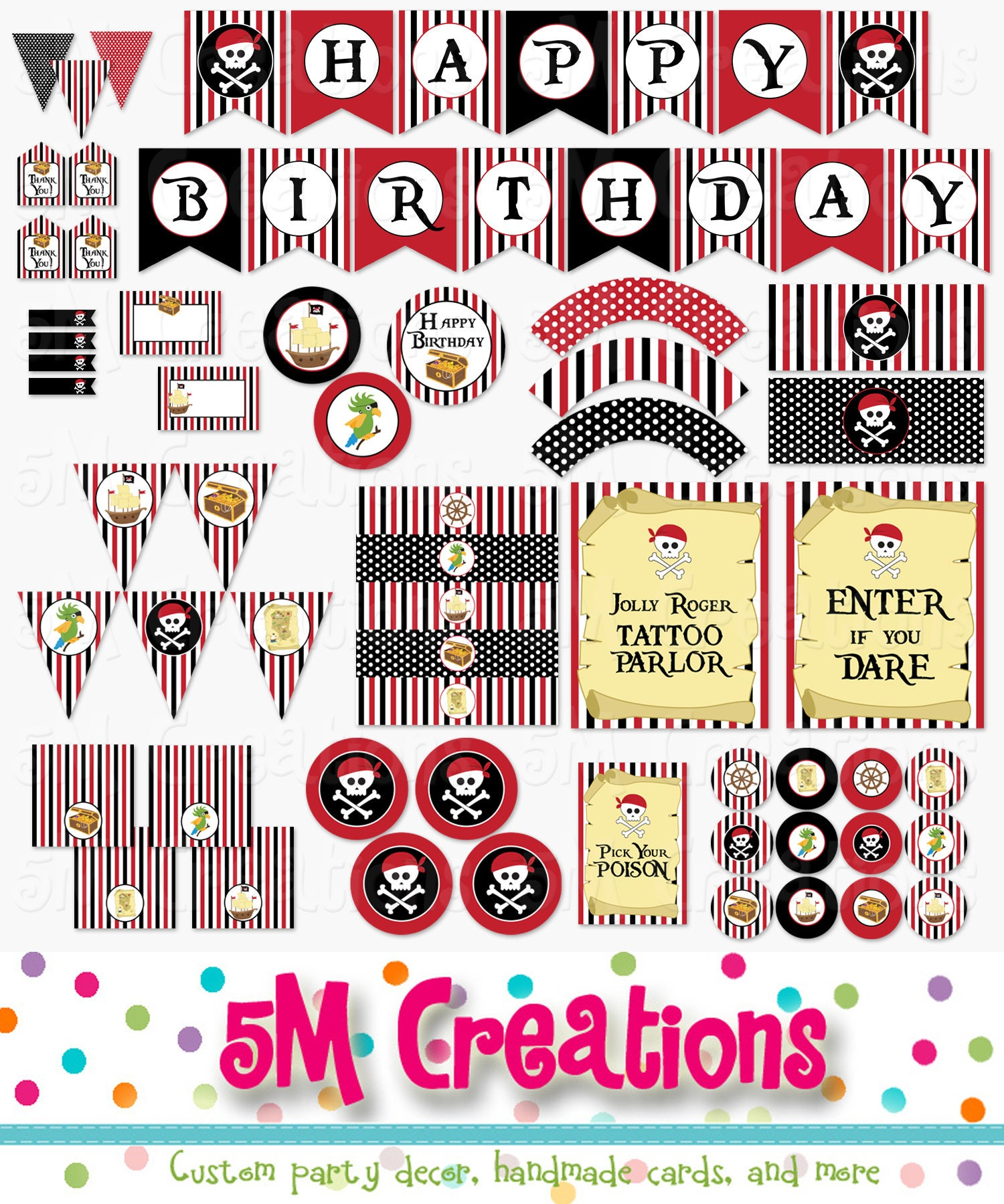 Pirate Birthday Party Printable Decorations Package Pirate