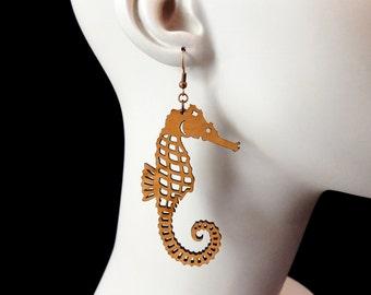 Seahorse Earrings - Laser Cut Acrylic (C.A.B. Fayre Original Design)