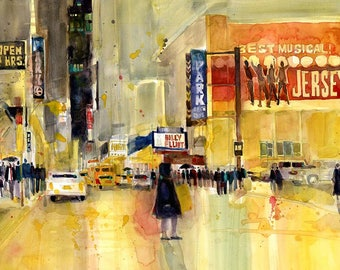 Billy Elliot, Jersey New York Theatre District Print by Dorrie Rifkin from original watercolor painting