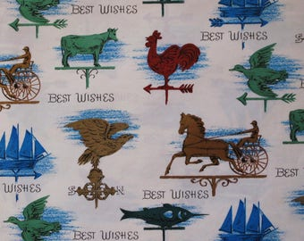 Vintage Dennison Occasional Gift Wrap Wrapping Paper - WEATHER VANES -  Birthday - New Home - For Him - 1950s