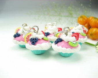 Fruit Cupcake Stitch markers Set of 5 miniature food polymer clay cupcake charms knitting accessories food gifts for knitters for her cute