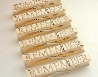 Set of 6 Wooden Stamped Clothespins Wedding Thank you gift - 3 options