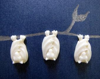 Little Bali Bat Carved Bone Flatbacked Bead 1pc