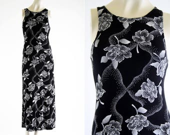 Maurices Black and White 90's Vintage Bouncy Fabric Sleeveless Woman's Retro Maxi Dress