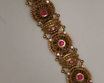 Bold ETRUSCAN Bracelet, Gold Filigree, Round Heavy Links, Link Bracelet, Gold Embellished Links, Pink and Aurora Borealis Rhinestone Accents
