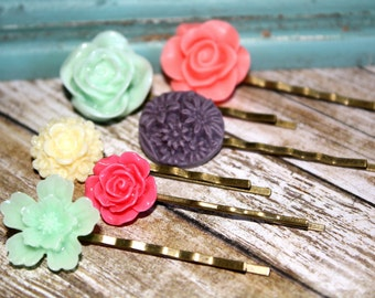 Flower Hair Pins, Hair Accessories, Flower Cabochon, Flower Hair Pin, Set of 6 Bobby Pin