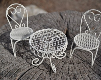 White Fairy Garden Dining Table with Two Chairs+Fairy Garden Accesssory+Fairy Garden Furniture+Fairy Garden Miniatures