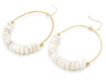 Juno Moonstone Oval Earrings | White Gemstone Earrings | Moonstone Drop Earrings
