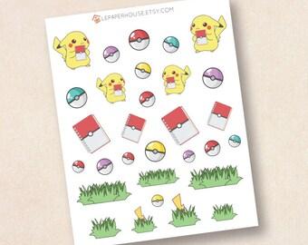Pokemon Stickers, matte or glossy planner stickers, life planner stickers, erin condren filofax, mambi happy planner
