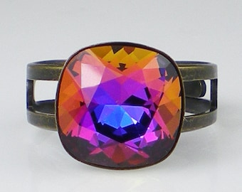 Rhinestone Ring Purple Sphinx Oxidized Brass  Violet Blue Pink Adjustable Ring Jewelry