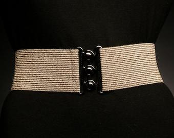 Metallic Gold Elastic Belt with Black Stripes