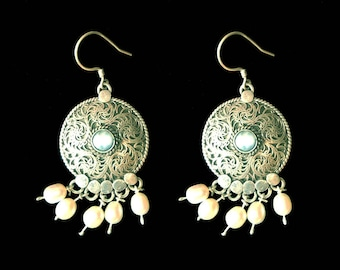 RESERVED Silver and Pearl Filigree Earrings