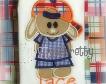 Baseball Bunny Boy Embroidery Applique Design