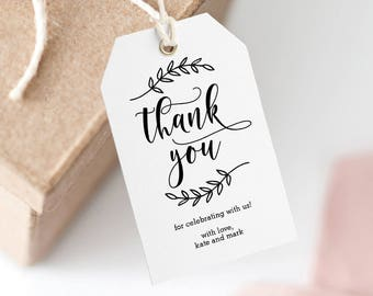 Printable Wedding Thank You Tag, Wedding Favor Tag, Wedding Welcome Bag - Editable PDF Template, Instant Download Lovely Calligraphy #REC
