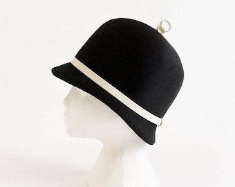 Shop SALE Vintage 1960s Womens Hat Pace-Setters by Mr. John Mod Cloche VGC Black Felted Wool White Leather Band