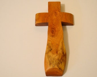 "Solid Wood Wall Cross;4""x9""x1""; Handmade Crooked Cross; Made in Texas; Mesquite Wood; Christian Gift; Free Ground Shipping cc20-3012117"
