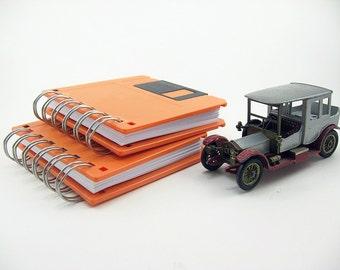 Orange Recycled Floppy Disk Notebook, blank notebook, to do list, black, orange, notepad