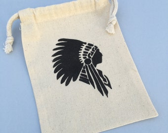 Native American Favor Bag - Muslin Drawstring Favor Bag for Cowboys and Indians Party