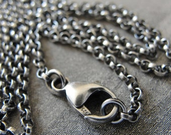 Sterling Silver rollo chain 20 inch long necklace (2.1mm) antique style oxidized for RQP Studio wax seal jewelry