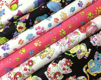 6 FQ Pawful Cats and Dogs Bundle,  Brand New Calico Cats and Dog Gone! Loralie Designs Cotton Quilt Fabric