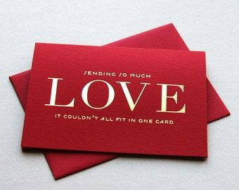 SALE Gold Foil Love card - So Much Love
