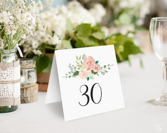 Peach Blush Floral Wedding Table Numbers 1–40, Wedding Table Numbers Template - DOWNLOAD Instantly, 5x5 Foldover, Tented, Peach Blush
