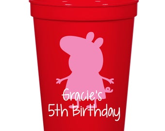 Peppa Pig Birthday Party- 16 oz. Reusable Plastic Stadium Cup- Minimum Purchase of 12 Cups!