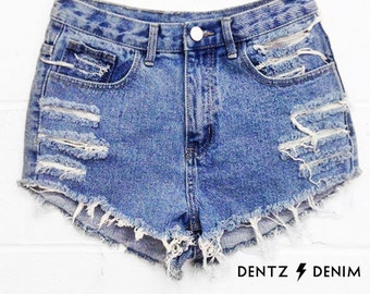 High Waisted Blue Denim Shorts - Moderate Shredding - Blue Jean Shorts - Plus thru Petite Size