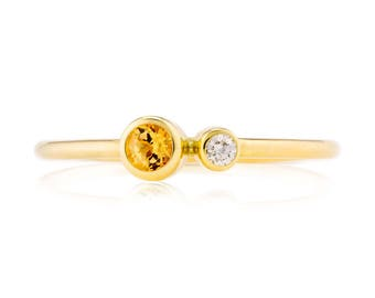 Topaz Birthstone Ring, 14K Gold Topaz and Canadian Diamond Ring, Gift for Her, November Birthstone