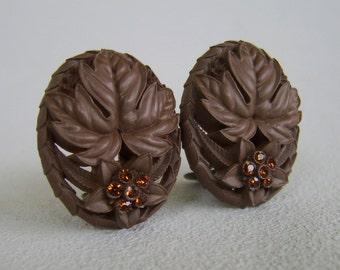 Vintage Chocolate Brown Celluloid Rhinestone Earrings 40s