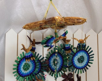 Vintage Colorful Straw Mobil Hanging Art Boats, Dolls on Boats, Star
