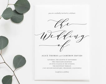 Printable Simple Wedding Invitation | Romantic Calligraphy, Modern, Black and White