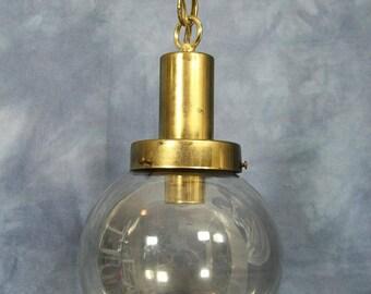 Vintage Glass Globe Hanging Swag Lamp, Mid Century Modern, Brass