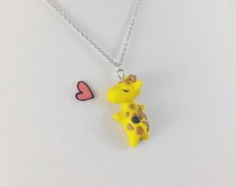 Cute Giraffe Necklace // Polymer Clay Giraffe Jewelry // Zoo Animal Hug Charm // Giraffe Gift