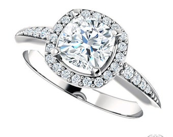 Moniqua Cushion Cut Halo Ring - 1.29ctw Cushion Cut Moissanite & Diamond Halo Engagement Ring