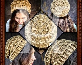 Wagon Wheel Slouch Crochet Textured Hat PATTERN