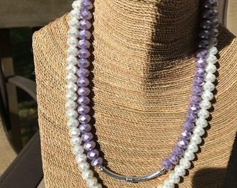 Violet and white double strand pearlized glass beaded necklace